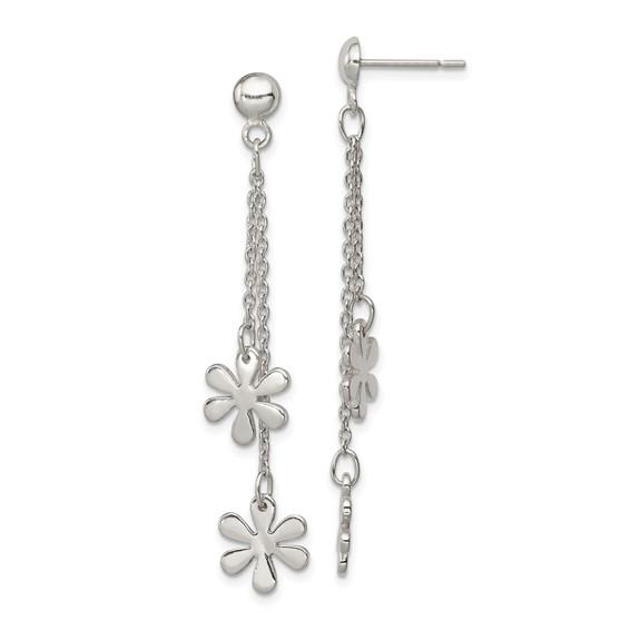 Sterling Silver Flower Dangle Post Earrings