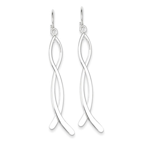 Sterling Silver Long Ribbon Dangle Earrings