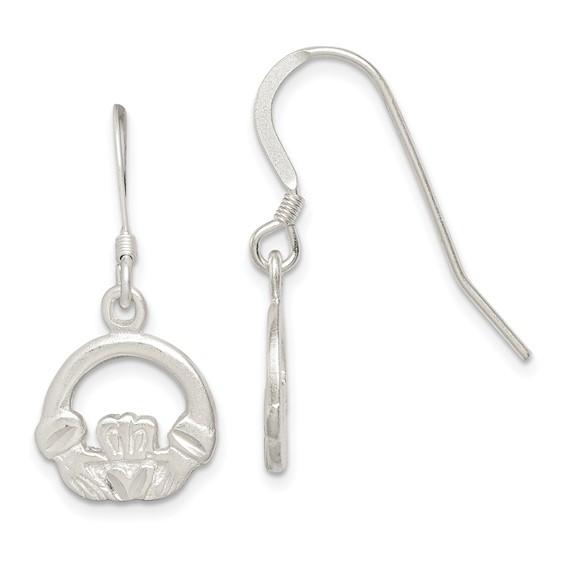 Sterling Silver Diamond-cut Claddagh Earrings