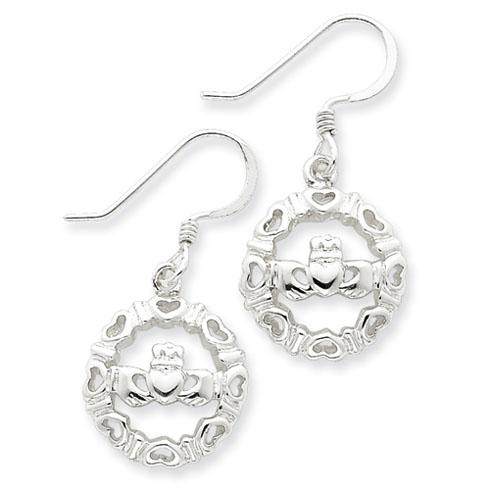 Sterling Silver Claddaugh Wire Earrings