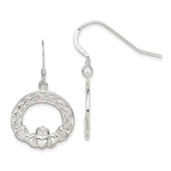 Sterling Silver Celtic Knot Claddagh Dangle Earrings