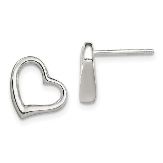 3/8in Heart Earrings - Sterling Silver