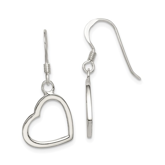 Sterling Silver 1 1/8in Heart Dangle Earrings