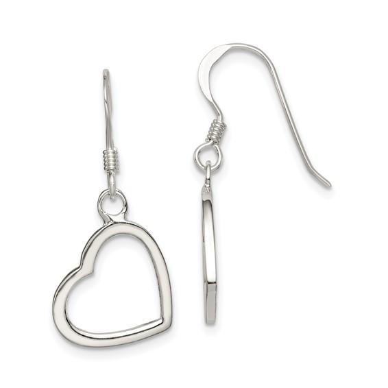 Sterling Silver 1 1/8in Heart Dangle Earrings