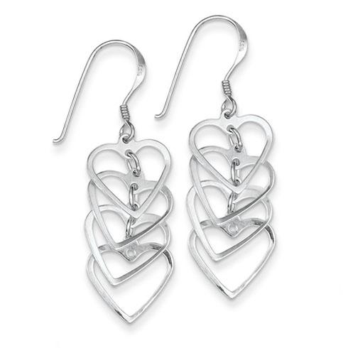 Sterling Silver Fancy Heart Stack Earrings