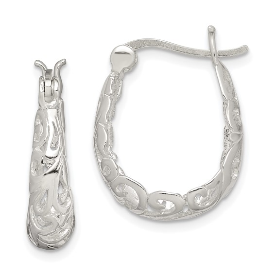 Sterling Silver 3/4in Filigree Oval Hoop Earrings