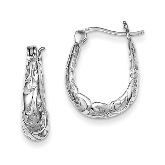 Sterling Silver 3/4in Filigree Oval Hoop Earrings