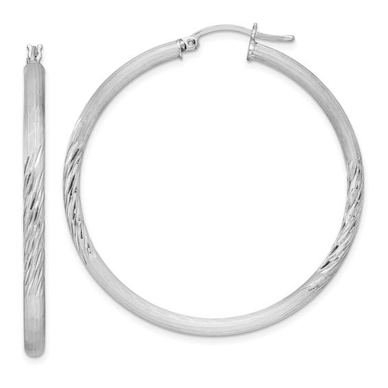 Sterling Silver Satin Diamond-cut Hoop Earrings 1 3/4in
