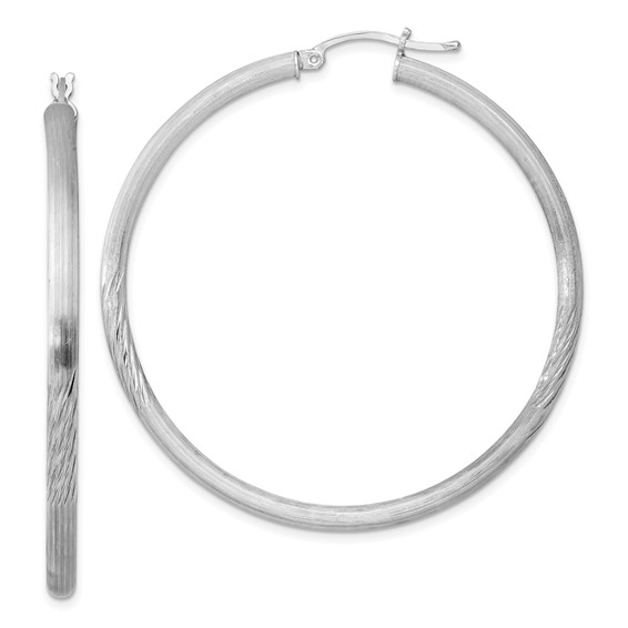 Sterling Silver 3.00mm Satin Diamond-cut Hoop Earrings