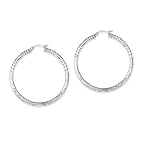 Sterling Silver Satin and Diamond-cut Hoop Earrings 2in