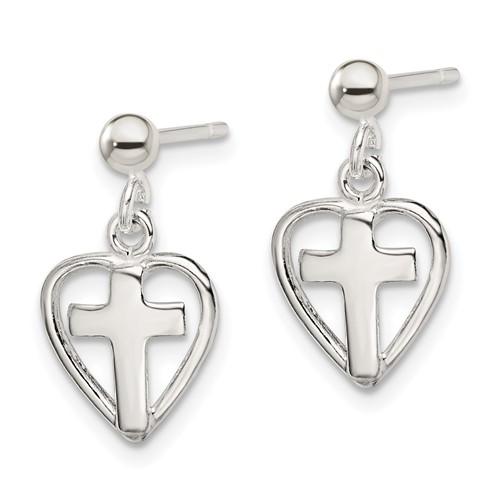 Sterling Silver 1/2in Cross in Heart Dangle Earrings
