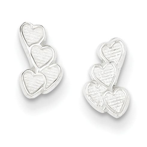 Sterling Silver Small Clutch of Hearts Earrings