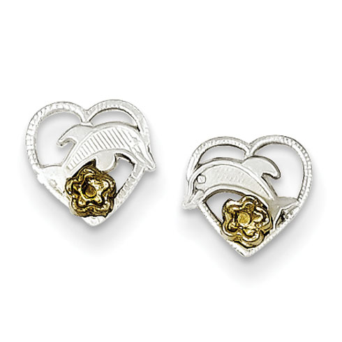 Sterling Silver Dolphin and Gold-Plated Heart Earrings