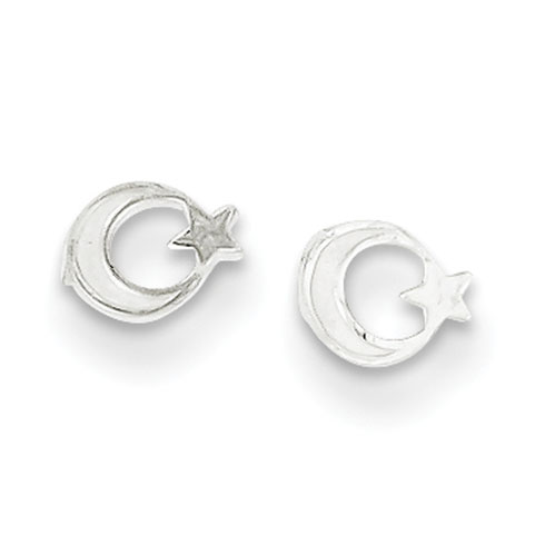 Sterling Silver Star and Moon Mini Earrings