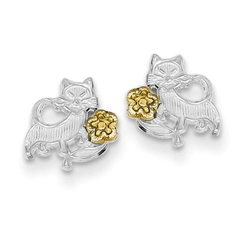 Sterling Silver & Vermeil Cat & Flowers Mini Earrings