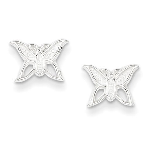 Sterling Silver Butterfly Mini Post Earrings with Satin Finish