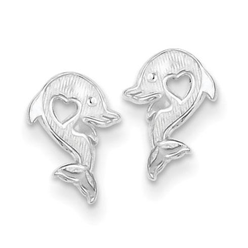 Sterling Silver Dolphin Heart Earrings