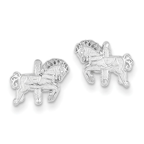 Sterling Silver 3/8in Carousel Horse Mini Earrings