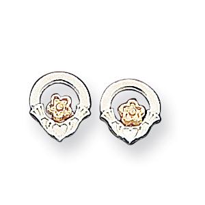 Sterling Silver & Vermeil Claddagh Mini Earrings