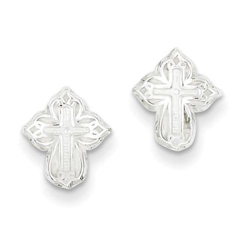 3/8in Cross Mini Earrings - Sterling Silver