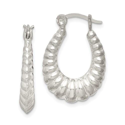 Sterling Silver 1in Shrimp Texture Hoop Earrings