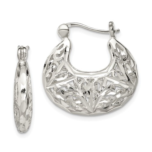 Sterling Silver 1in Polished Filigree Hoop Earrings
