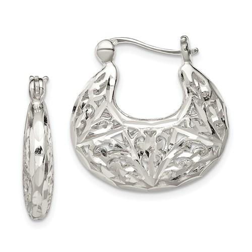 Sterling Silver 1in Polished Filigree Hoop Earrings