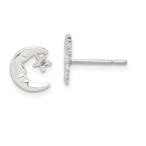 Sterling Silver Moon & Star Mini Earrings