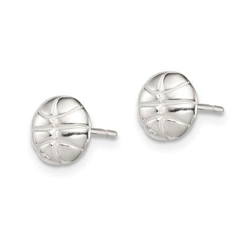 Sterling Silver Basketball Mini Earrings