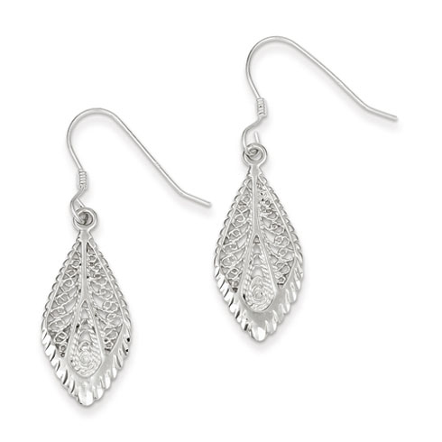 Sterling Silver Filigree Earrings Shepherd Hooks 1 1/2in