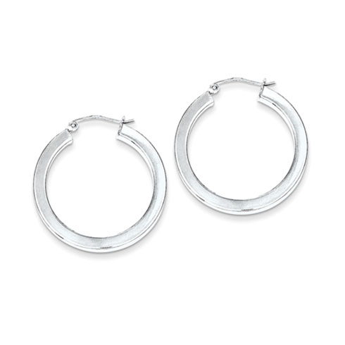 Sterling Silver 1 1/8in Hoop Earrings 3.25mm