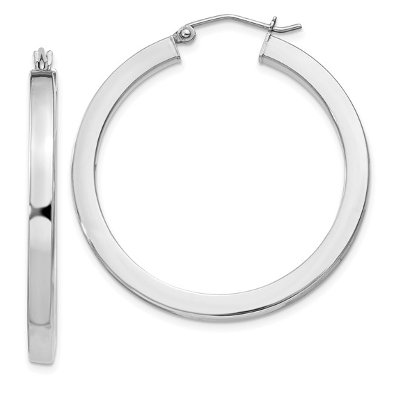Sterling Silver 1 1/4in Hoop Earrings 3.25mm
