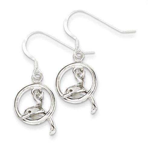 Sterling Silver 1 1/4in Dolphin Dangle Earrings