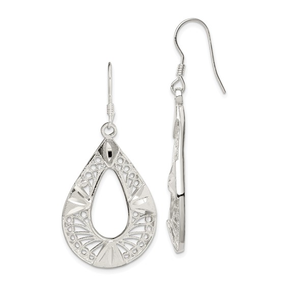 Sterling Silver 1 7/8in Filigree Earrings