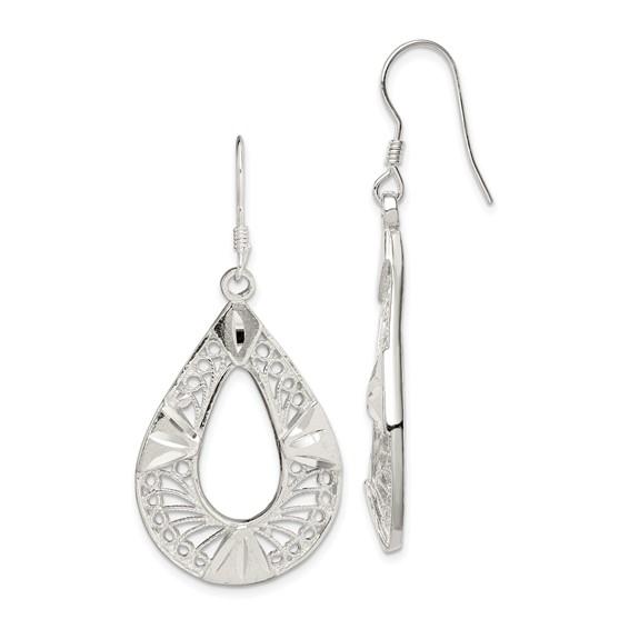 Sterling Silver 1 7/8in Filigree Earrings