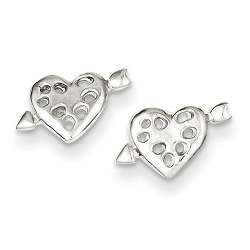Sterling Silver Heart and Arrow Mini Earrings