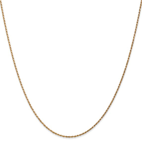 14kt Yellow Gold 16in Diamond-cut Rope Chain 1mm