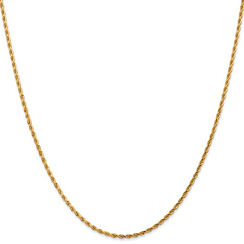 14kt Yellow Gold 18in Diamond-cut Rope Chain 2mm