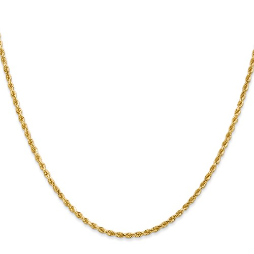 14kt Yellow Gold 18in Handmade Rope Chain 2.25mm