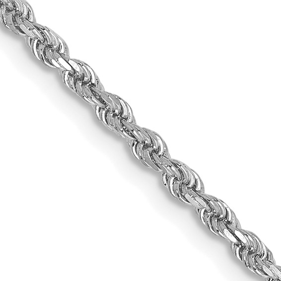 2mm Rope Chain 18in - 14k White Gold