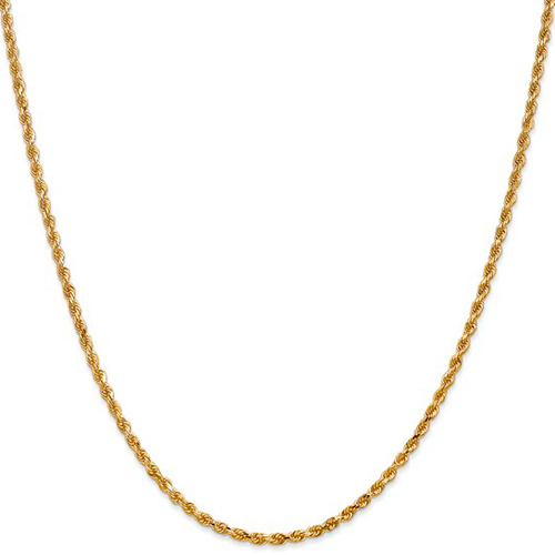 14kt Yellow Gold 20in Handmade Rope Chain 2.25mm