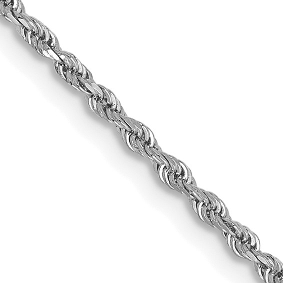 2.50mm Rope Chain 16in - 14k White Gold