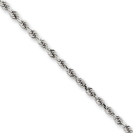 2.50mm Rope Chain 20in - 14k White Gold