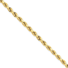 14kt Yellow Gold 20in Diamond-cut Rope Chain 3mm