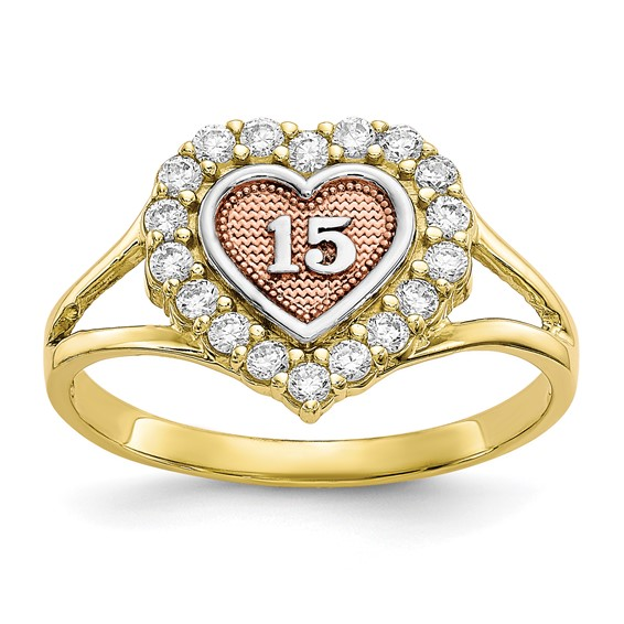 10kt Two-tone Gold Sweet 15 Heart Ring