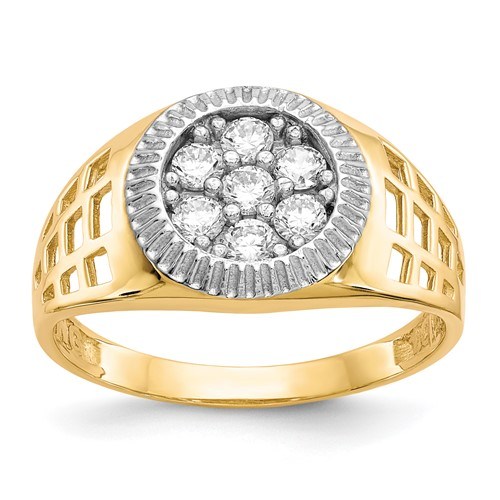 10k Two-tone Gold Men's CZ Cluster Ring