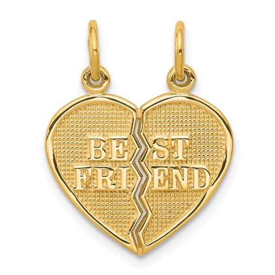 10kt Yellow Gold 5/8in Best Friend Break Apart Charm