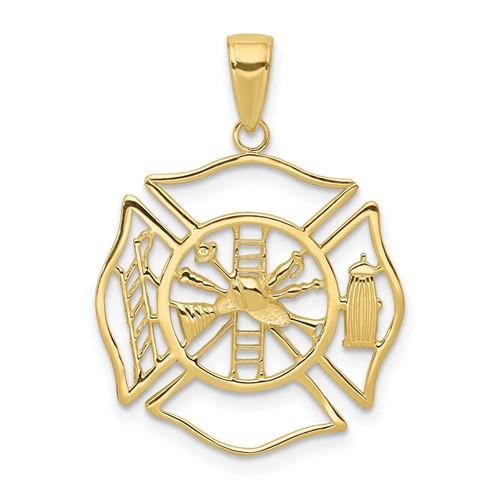 10k Yellow Gold Firefighter Outline Pendant 7/8in