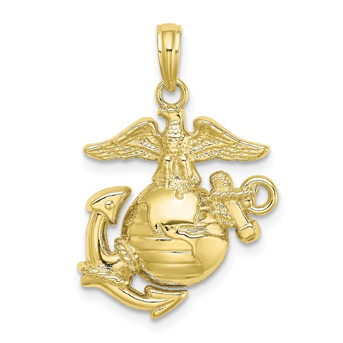 10k Yellow Gold USMC Eagle Globe and Anchor Pendant 3/4in