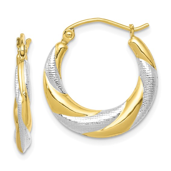 10kt Two-tone Gold 3/4in Twisted Hollow Hoop Earrings